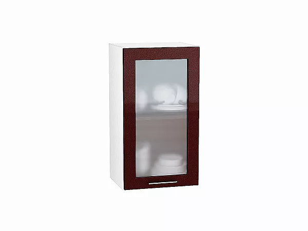 Шкаф верхний Валерия В400 со стеклом (гранатовый металлик)