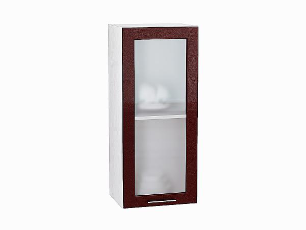 Шкаф верхний Валерия В409 со стеклом (гранатовый металлик)