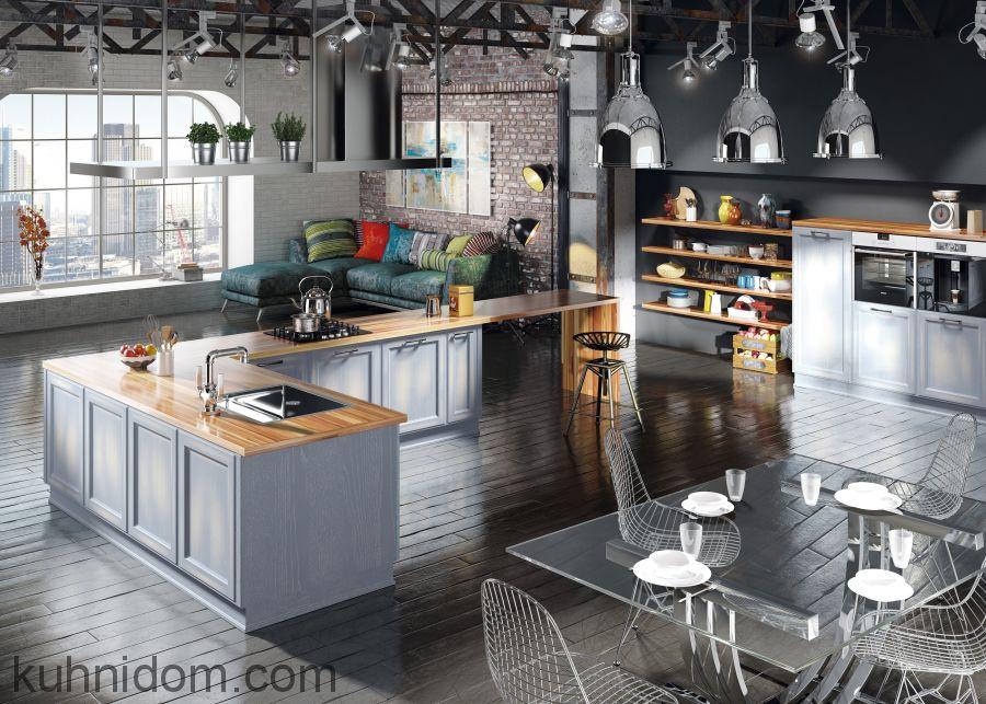 Кухня Милан Джинс с открытыми полками