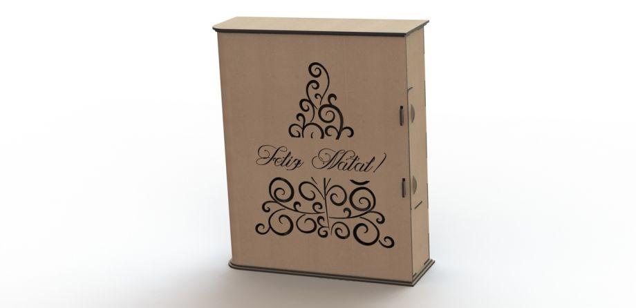 Коробка для бокалов и бутылки вина с новым годом на заказ