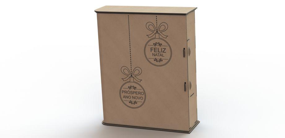 Коробка для бокалов и бутылки вина с рождеством на заказ