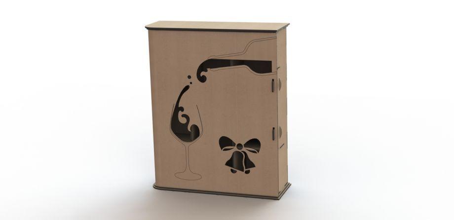 Коробка для бокалов и бутылки вина с колокольчиком на заказ