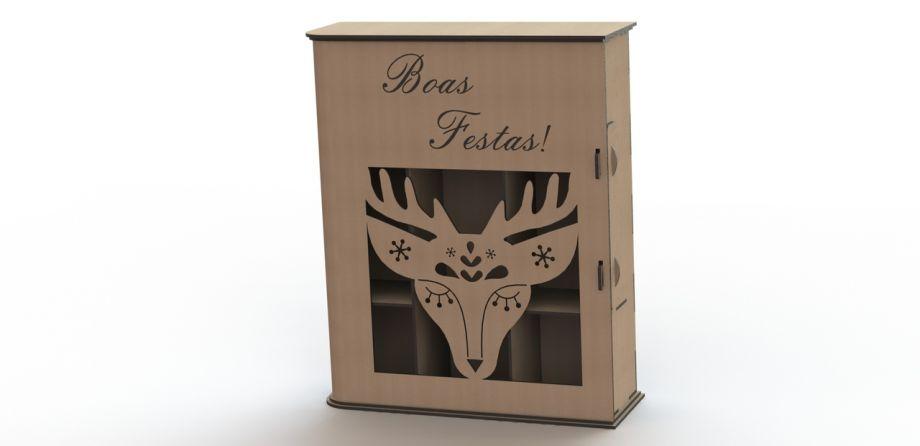 Коробка для бокалов и бутылки вина с оленем на заказ
