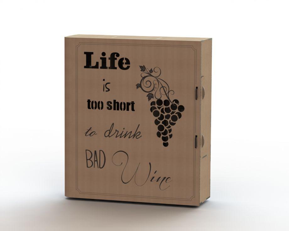 Коробка для бокалов и бутылки вина с виноградом на заказ