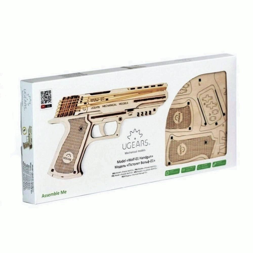 Конструктор 3D-пазл Ugears - Пистолет Вольф-01