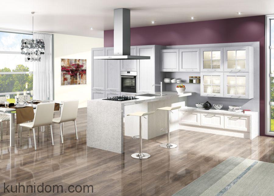 Кухня Милан Гриджио с островной вытяжкой