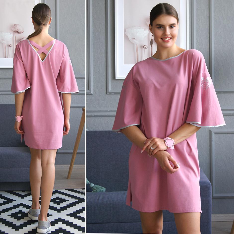 Розовое платье-футболка