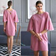 розовое платье-футболка с рукавами крылышками