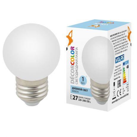 Лампа декоративная светодиодная  Volpe E27 1W 6000K матовая LED-G45-1W/6000K/E27/FR/С