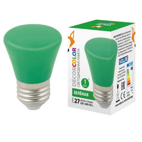Volpe E27 1W зеленая матовая LED-D45-1W/GREEN/E27/FR/С BELL