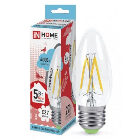Технические характеристики IN HOME LED-СВЕЧА-deco 5Вт 230В Е27 4000К 450Лм прозрачная