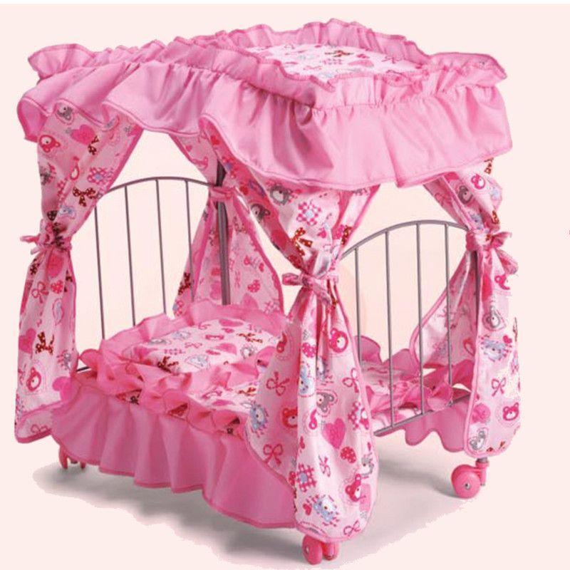 Кровать для кукол с балдахином на колесах(9350E)