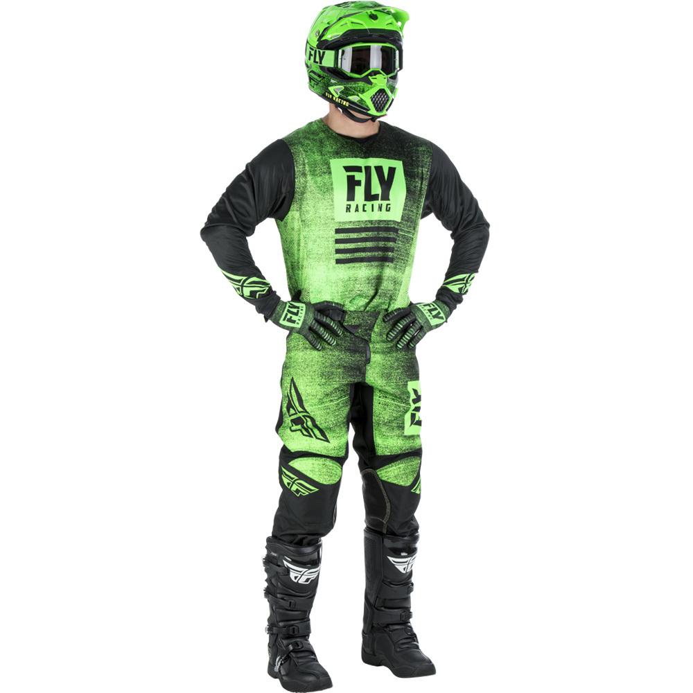 Fly - 2019 Kinetic Noiz Neon Green/Black комплект джерси и штаны, зелено-черные