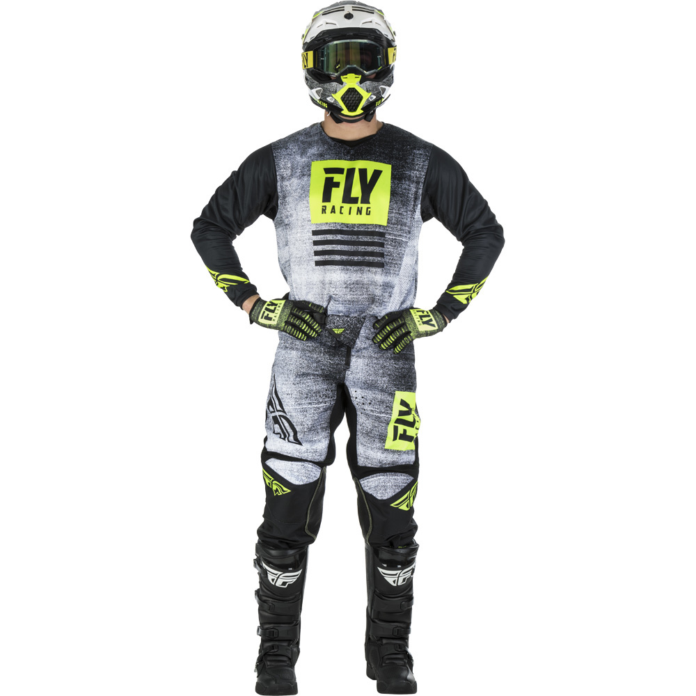 Fly - 2019 Kinetic Noiz Black/Hi-Viz комплект джерси и штаны, Hi-Viz-черные