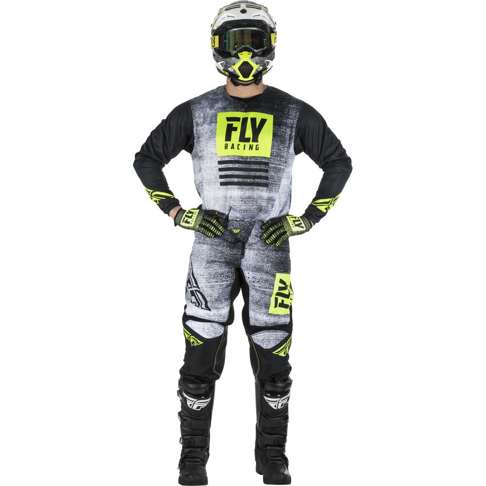 Fly - 2019 Kinetic Noiz Black/Hi-Viz комплект джерси и штаны, Hi-Viz-черные