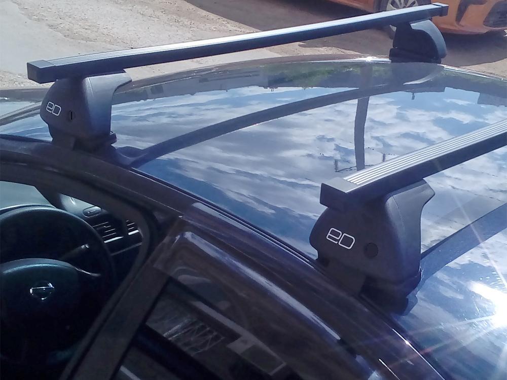 Багажник на крышу Nissan Almera Classic, Евродеталь, стальные прямоугольные дуги