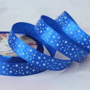 Лента атласная 15 мм Синяя со звездами