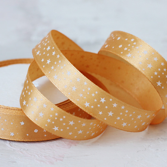 Лента атласная 15 мм Золотая со звездами
