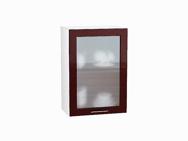 Шкаф верхний Валерия В500 со стеклом (гранатовый металлик)