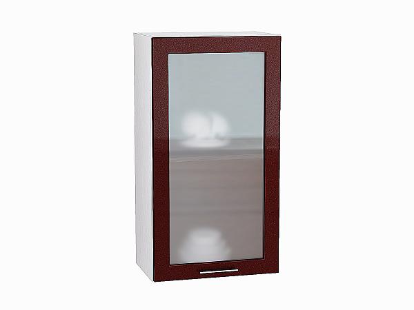 Шкаф верхний Валерия В509 со стеклом (гранатовый металлик)