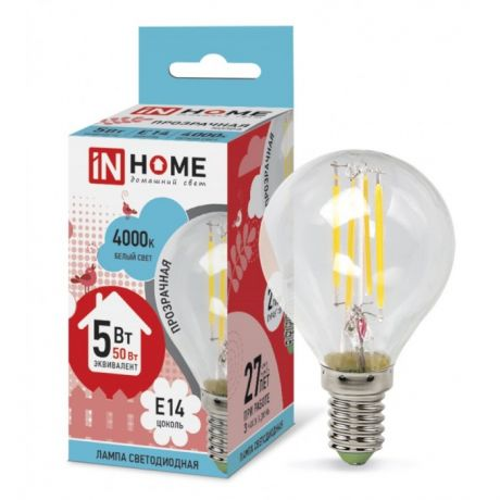Лампа светодиодная LED-ШАР-DECO 5Вт 230В Е14 4000К 450Лм прозрачная IN HOME