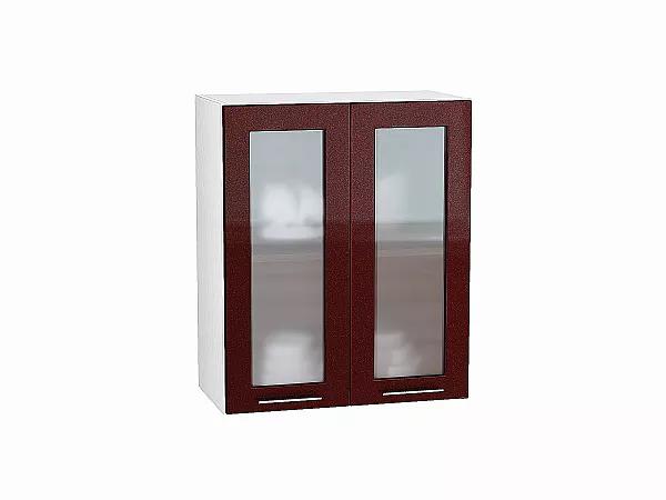 Шкаф верхний Валерия В600 со стеклом (гранатовый металлик)