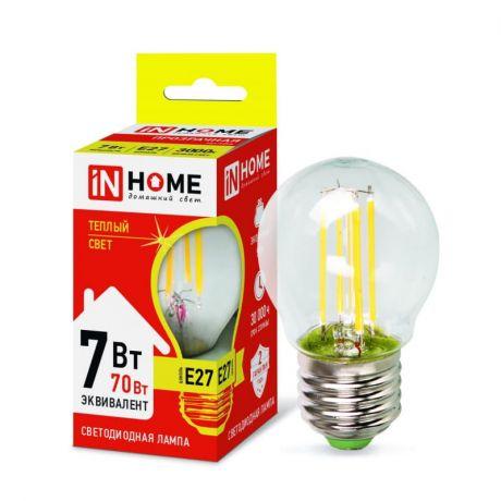 Лампа светодиодная In Home LED-ШАР-deco 7Вт Е27 3000К