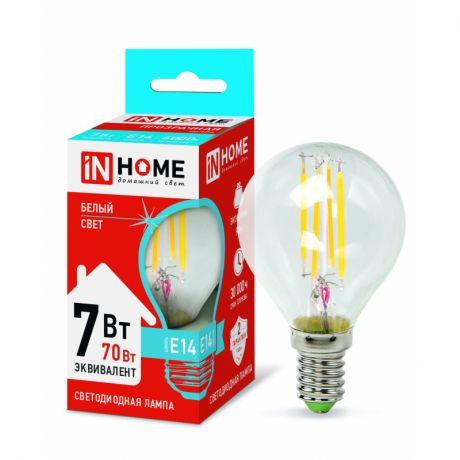 Лампа светодиодная In Home LED-ШАР-deco 7Вт Е14 4000К