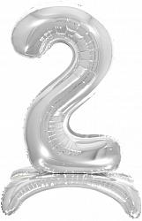 Шар (32''/81 см) Цифра, 2 на подставке, Серебро, 1 шт. в упак.