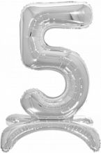 Шар (32''/81 см) Цифра, 5 на подставке, Серебро, 1 шт. в упак.