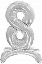 Шар (32''/81 см) Цифра, 8 на подставке, Серебро, 1 шт. в упак.