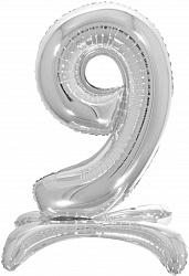 Шар (32''/81 см) Цифра, 9 на подставке, Серебро, 1 шт. в упак.