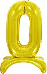 Шар (32''/81 см) Цифра, 0 на подставке, Золото, 1 шт. в упак.