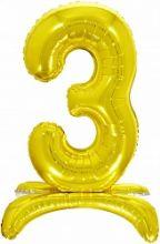 Шар (32''/81 см) Цифра, 3 на подставке, Золото, 1 шт. в упак.