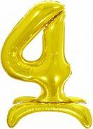 Шар (32''/81 см) Цифра, 4 на подставке, Золото, 1 шт. в упак.