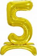 Шар (32''/81 см) Цифра, 5 на подставке, Золото, 1 шт. в упак.