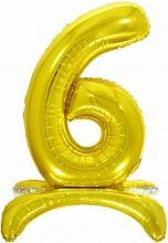 Шар (32''/81 см) Цифра, 6 на подставке, Золото, 1 шт. в упак.