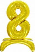 Шар (32''/81 см) Цифра, 8 на подставке, Золото, 1 шт. в упак.