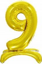 Шар (32''/81 см) Цифра, 9 на подставке, Золото, 1 шт. в упак.
