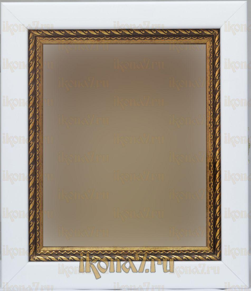Киот для иконы белый с золотистым багетом