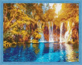 Алмазная мозаика «Осенний водопад» 40x50 см