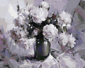 Картина по номерам «Белые пионы» 40x50 см