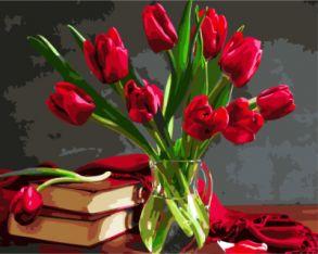 Картина по номерам «Букет красных тюльпанов» 40x50 см