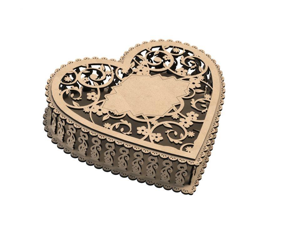 Шкатулка из фанеры сердце ажур