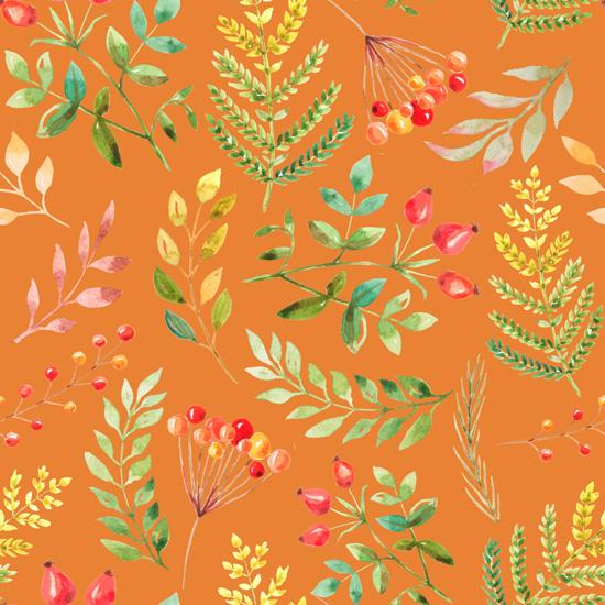 Хлопок Перкаль Осенние ягоды на оранжевом 50х37
