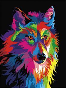 Картина по номерам «Волк поп-арт» 30x40 см