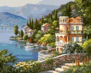 Картина по номерам «Вилла на берегу озера» 40x50 см