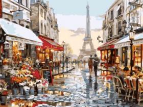 Картина по номерам «Нарядная парижская улочка» 30x40 см