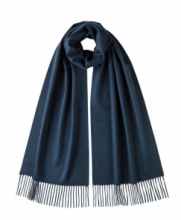 большой однотонный кашемировый шарф (100% драгоценный кашемир), цвет Синий Дизель Diesel blue  cashmere, высокая плотность 7
