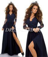 Темно-синее вечернее платье с разрезом